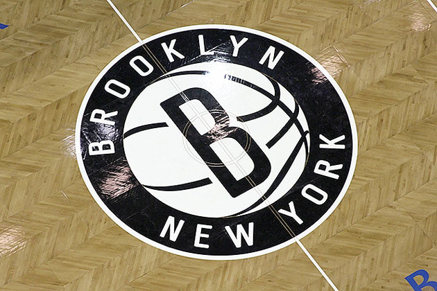 A detail of the center court logo. (Photo via www.nba.com/nets)