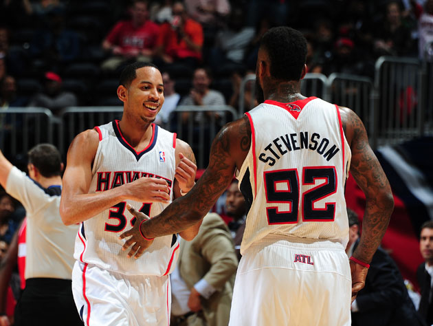 Devin Harris and DeShawn Stevenson, current Atlanta Hawks (Getty Images)