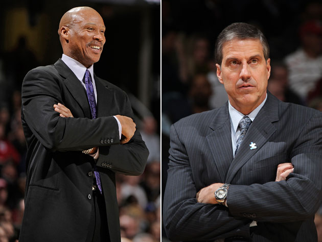 Byron Scott and Randy Wittman refuse to unfurl their arms (Getty Images)