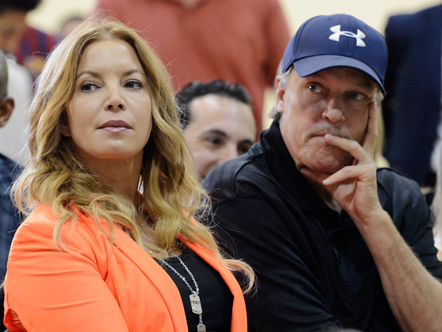 Jeannie and Jim Buss in August of 2012 (Getty Images)