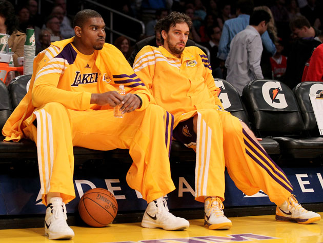 Andrew Bynum and Pau Gasol, glaring for some reason (Getty Images)