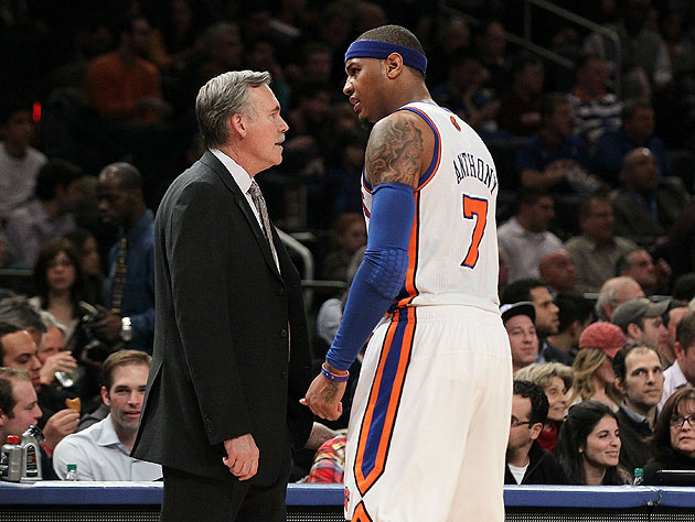 Carmelo Anthony and Mike D'Antoni no longer have one another to kick around. (Getty Images)