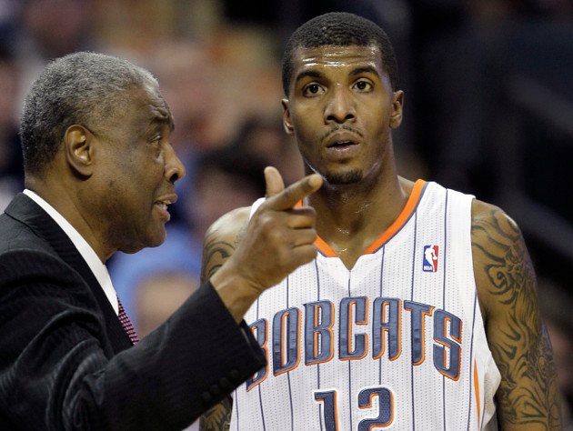 Charlotte Bobcats coach Paul Silas tries one more time to explain 'Who's on First' to Tyrus Thomas. (AP)