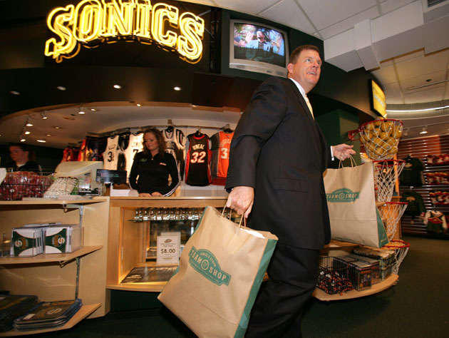 Clay Bennett is totally going to wear all this Seattle SuperSonics stuff, you guys (Getty Images)