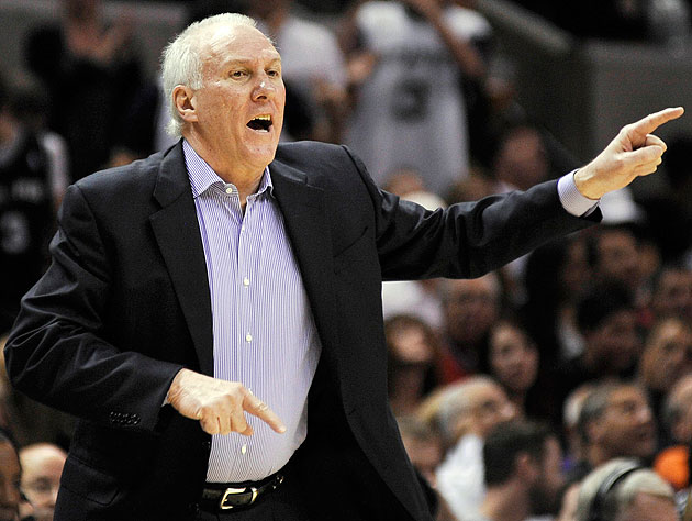 Coach Gregg Popovich was none too pleased with the effort his Spurs gave on Monday night. (AP)