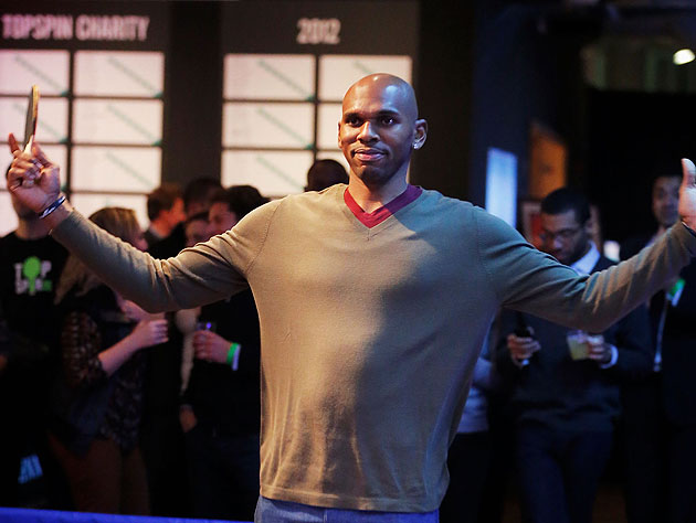 Jerry Stackhouse celebrates another successful cyber-serving. (Jemal Countess/Getty Images)