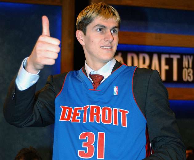 Darko Milicic, five years into his professional career, one night into his NBA career (Getty Images)