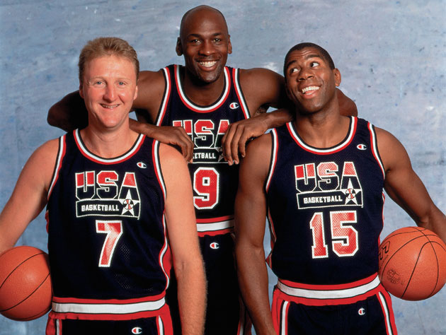 Larry Bird, Michael Jordan, and Magic Johnson. On the same team. (Getty Images)