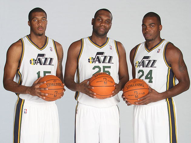 Derrick Favors, Al Jefferson and Paul Millsap stood tall in Utah's win over Phoenix. (Getty Images)