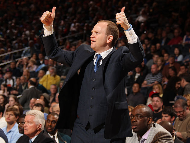 Detroit Pistons coach Lawrence Frank celebrates a made field goal. (Getty Images)