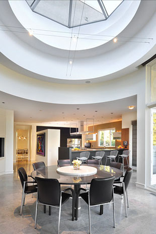 Dine under a skylight. (Photo via Baird and Warner, John S. Eckert Photography)