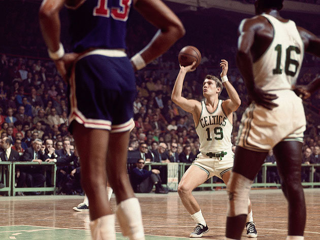 Don Nelson, wearing his lucky belt, takes a deep bend before releasing a free throw. (Dick Raphael, NBA)