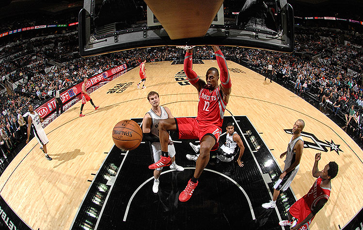 Dwight Howard throws down, fisheye style. (D. Clarke Evans/NBAE/Getty Images)