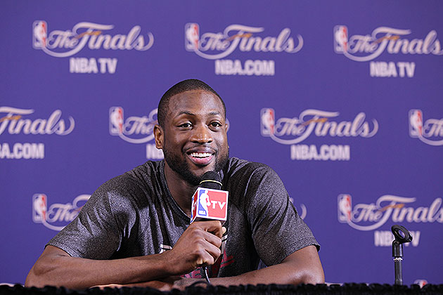 Dwyane Wade, just like everyone else, was all smiles and kind words. (Issac Baldizon/NBA/Getty Images)