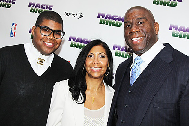E.J., Cookie and Magic Johnson at the premiere of the play 'Magic/Bird.' (Bruce Glikas/Broadway.com)
