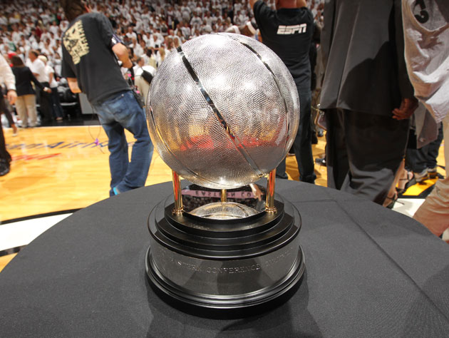 The Eastern Conference Championship trophy, which the Miami Heat won on Saturday (Getty Images)