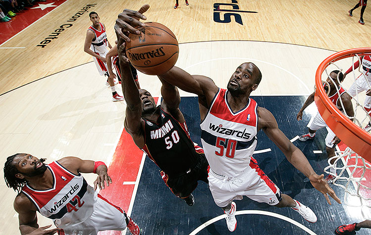 Emeka Okafor won't be suiting up for the Wizards any time soon. (Ned Dishman/NBAE/Getty Images)