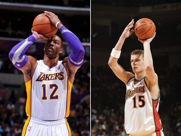 Dwight Howard and Andris Biedrins line up a pair of winners (Getty Images)