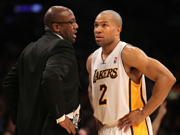 Derek Fisher and coach Mike Brown (Getty Images)