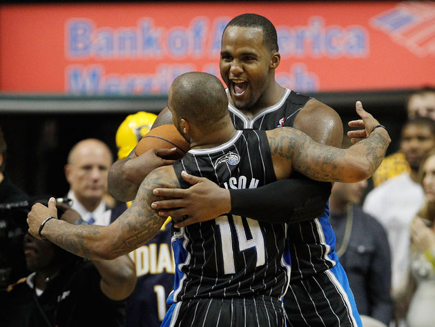 Jameer Nelson and Glen Davis celebrate getting the green light to shoot (Gregory Shamus/ Getty)
