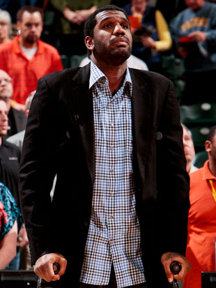 Greg Oden in March of 2012 (Getty Images)