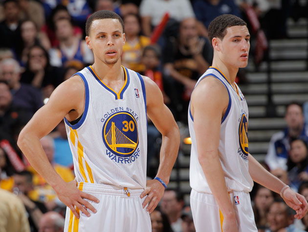 Stephen Curry and Klay Thompson prepare to line it up (Getty Images)