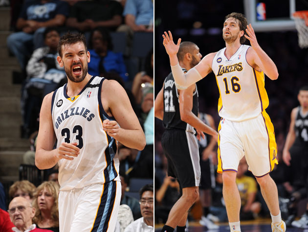 Gasol brothers celebrate in different ways (Getty Images)