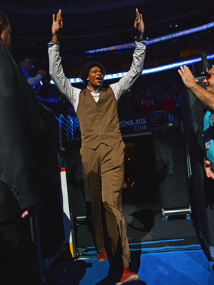 Get used to seeing a lot more of Andrew Bynum in, um, street clothes. (Getty Images)