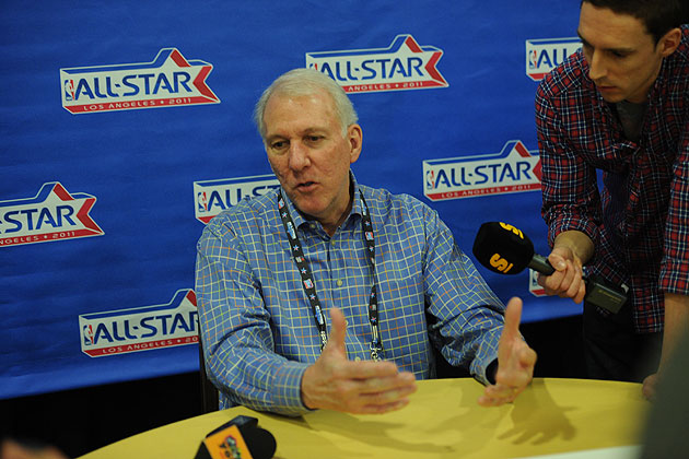 Gregg Popovich doing what he loves -- answering bloggers' questions. (Getty Images)