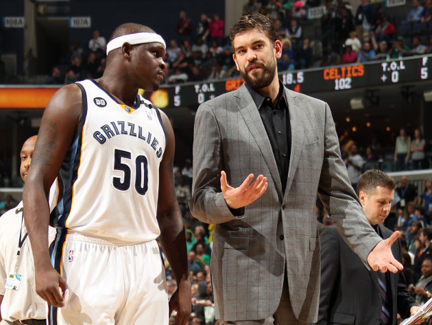 He looks good in a suit, but Grizz fans would much rather see Marc Gasol in uniform. (Joe Murphy/NBA/Getty Images)