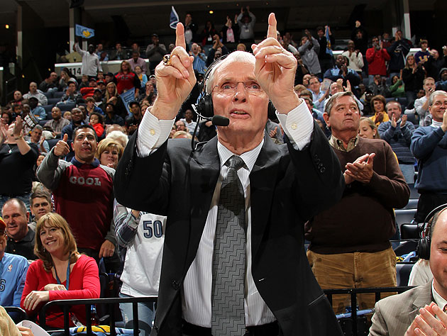 Hubie Brown credits the man upstairs. I credit the guy in the 'COOL' shirt. (Getty Images)
