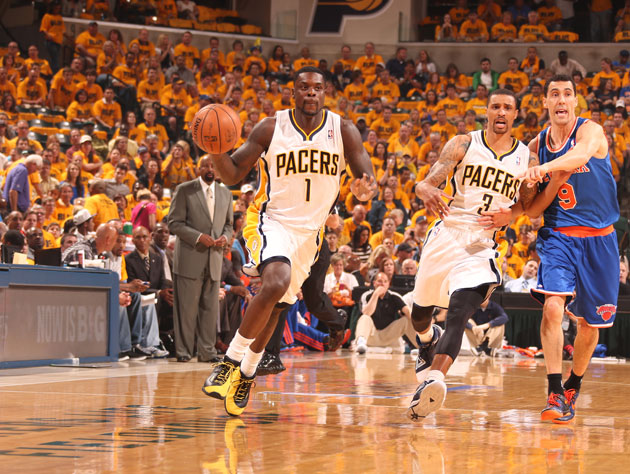 Lance Stephenson drives in front of the faithful (Getty Images)