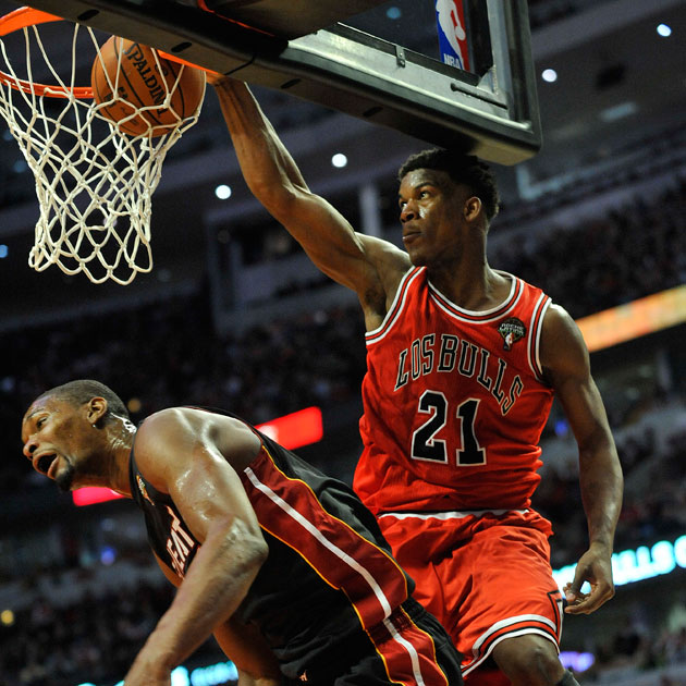 Jimmy Butler makes Chris Bosh look silly (Getty Images)