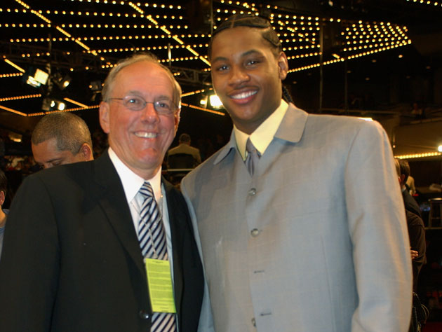 Jim Boeheim and Carmelo Anthony in 2003 (Getty Images)