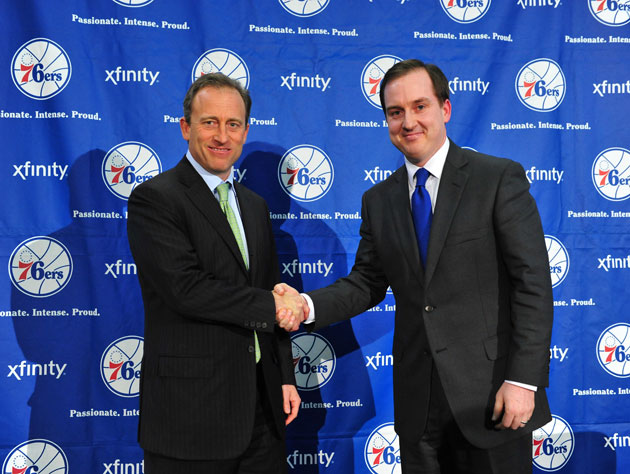 Sixers owner Josh Harris and Sam Hinkie in a photo that makes me laugh (Getty Images)