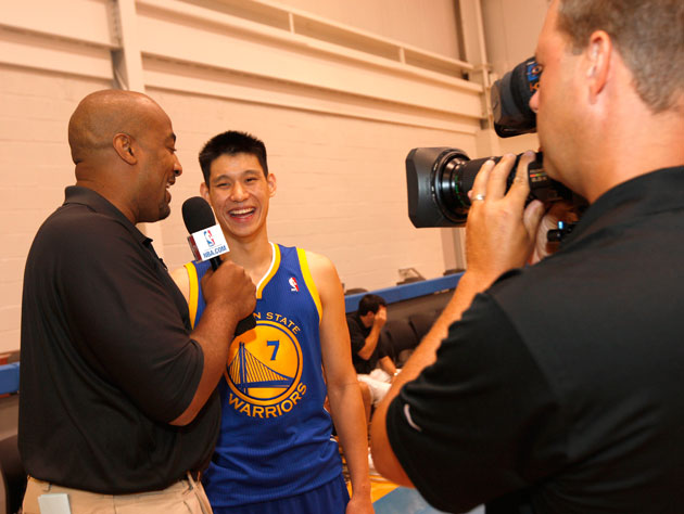 Jeremy Lin does the media rounds in the fall of 2010 (Getty Images)