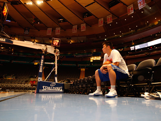 Jeremy Lin, following a workout at Madison Square Garden. (Getty Images)
