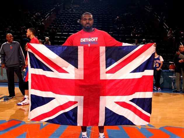 Detroit's Jason Maxiell poses with the Union Jack in New York for reasons we don't understand (Getty Images)