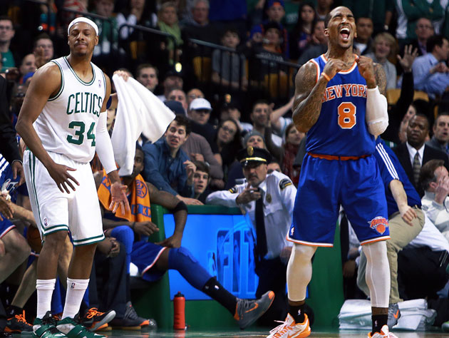 Paul Pierce and J.R. Smith state their case (Getty Images)