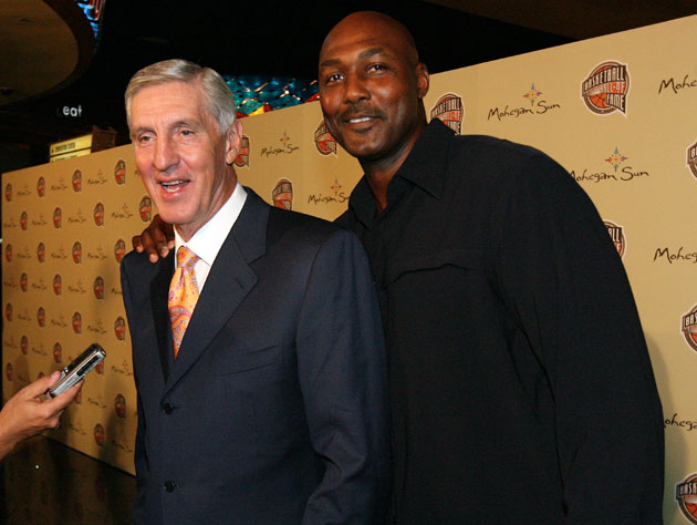 Jerry Sloan and Karl Malone in happier times with free seats (Getty Images)
