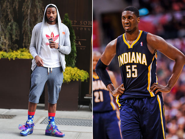 John Wall and Roy Hibbert try to meet in the middle (Getty Images)