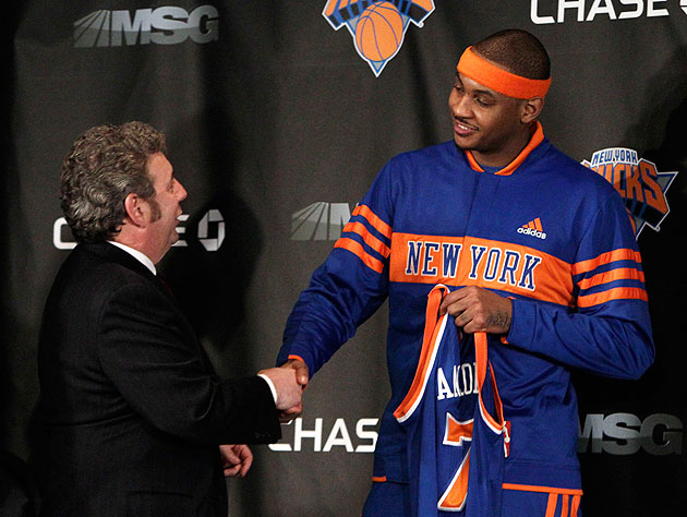 James Dolan slyly plants a bug in Carmelo Anthony's warmups. (AP/Kathy Willens)