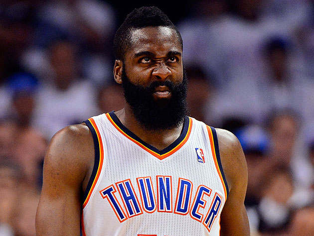 James Harden *IS* D.J. Scrunchface. (Getty Images)