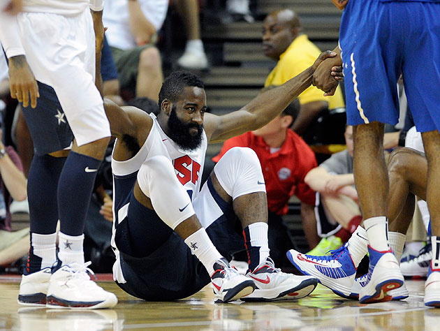 James Harden needs a hand. (Getty Images)