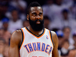 James Harden tries to blink his face out of existence. (Getty Images)