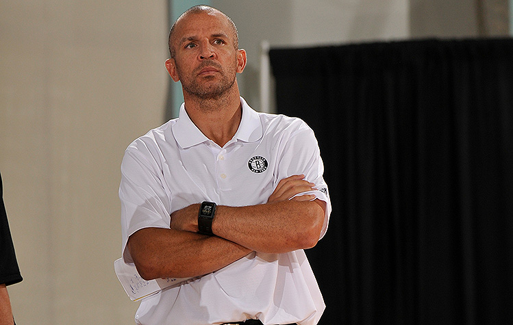 Jason Kidd will begin the regular season watching from a distance. (Fernando Medina/NBAE/Getty)