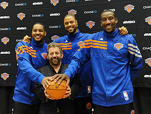 Jim Dolan, Carmelo Anthony, Tyson Chandler and Amar'e Stoudemire in happier times. (Getty Images)