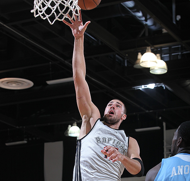 Jonas Valanciunas looked like a man amongst boys at times in Vegas. (Garrett Ellwood/NBAE/Getty Images)