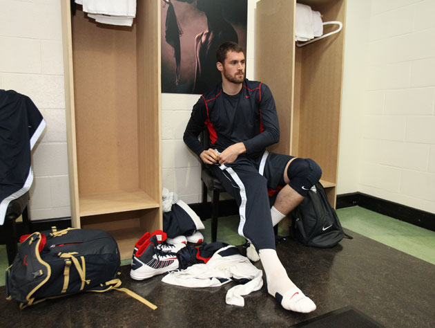 Kevin Love makes sure you close the door, what with the AC on and all. (Getty Images)