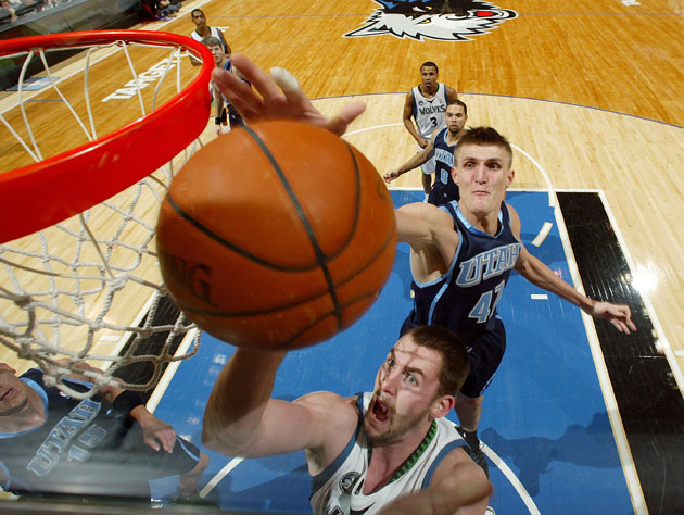 Kevin Love doesn't have to worry about Andrei Kirilenko's looming defensive presence anymore (Getty Images)